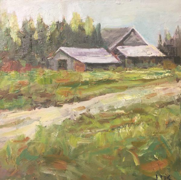 Acrylic painting of a grey barn